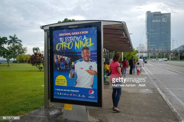 An image of Amilcar Henriquez of Panama advertising Pepsi on a poster at a bus stop in Panama City as the Nation of Panama Prepares to Compete at the...