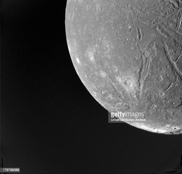 An image of Ariel, a moon of Uranus. Voyager 2.