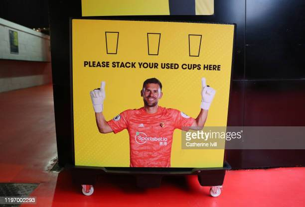 An image of Ben Foster of Watford in the concourse to promote recycling ahead of the Premier League match between Watford FC and Wolverhampton...