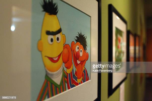An image of Bert and Ernie hangs on display at the exhibit ``Forty Years of `Sesame Street' Illustration Selections from the Publishing Archive of...