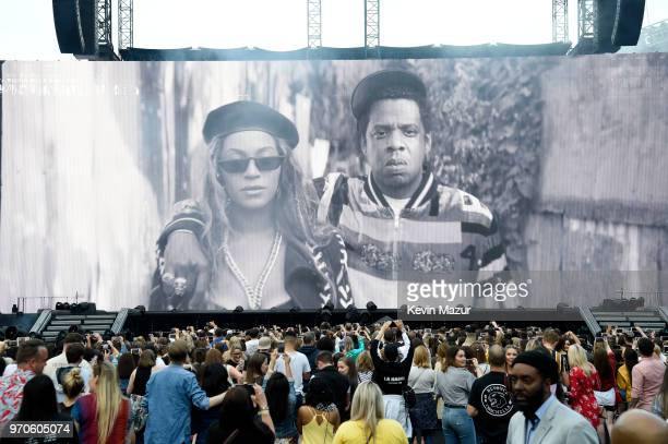 An image of Beyonce and JayZ is projected before they appear to perform on stage during the On the Run II Tour at Hampden Park on June 9 2018 in...