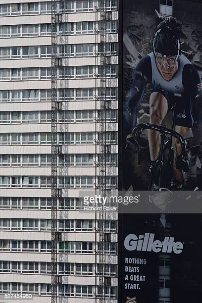 An image of British sprint cycling hero and 5times Gold medallist Sir Chris Hoy appears on the side of a tower block that overlooks the Olympic Park...