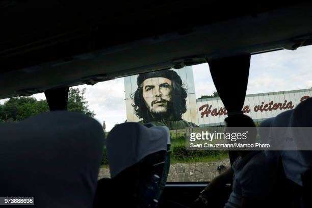 An image of Che Guevara is seen from inside Chinese bus on June 11 2018 in Las Tunas Cuba Busses have turned even more important in Cuba ever since...