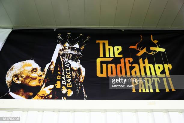 An image of Claudio Ranieri manager of Leicester City lifting the Premier League trophy features on a banner next to the Godfather Part II film logo...