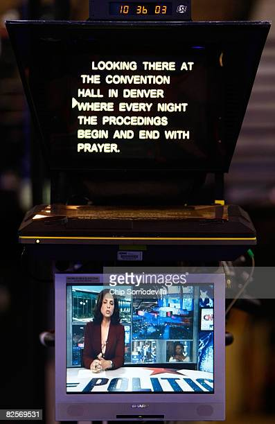 An image of CNN anchor Soledad O'Brien is seen on a screen below a teleprompter on day three of the Democratic National Convention at the Pepsi...