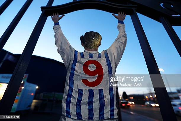An image of former player and club legend Jeff Astle on the gates before the Premier League match between West Bromwich Albion and Swansea City at...