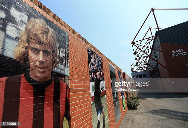 An image of former player and manager Harry Redknapp on a wall at Goldsands Stadium home of AFC Bournemouth