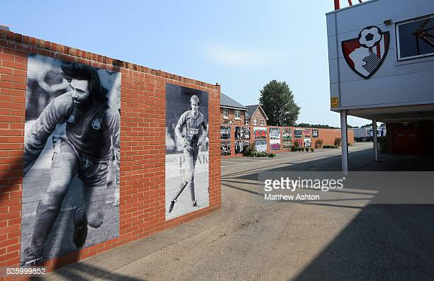 An image of former player George Best on a wall at Goldsands Stadium home of AFC Bournemouth