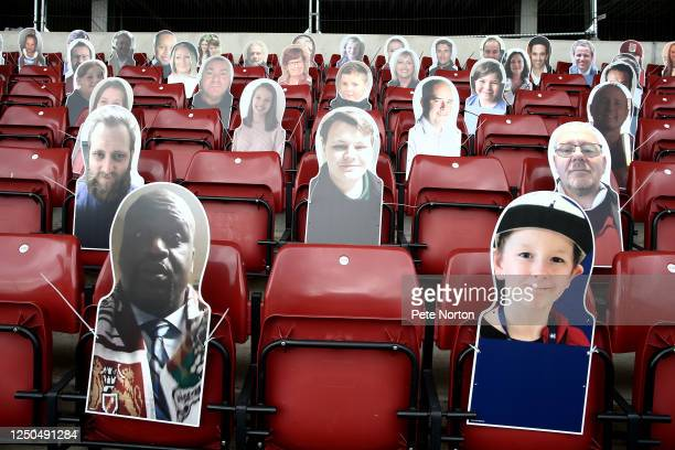 An image of Harry Dunn is seen in the east stand as part of the Cobblers in the Crowd display of fans due to the game being played behind closed...