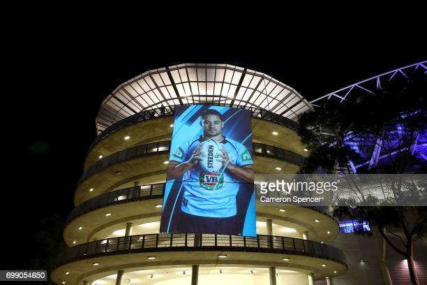 An image of Jarryd Hayne of the Blues is projected outside the stadium prior to game two of the State Of Origin series between the New South Wales...