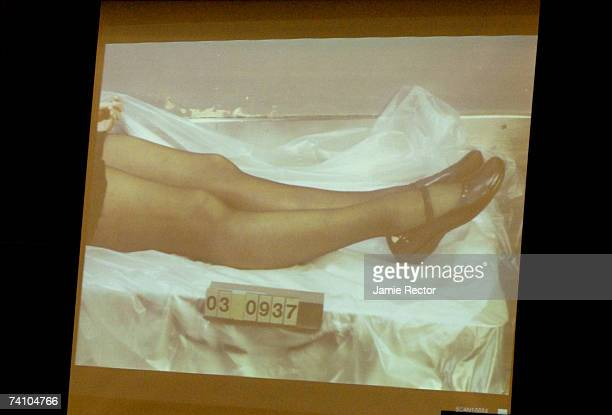 An image of Lana Clarkson's legs and shoes is projected in the courtroom during music producer Phil Spector's murder trial at Los Angeles Superior...