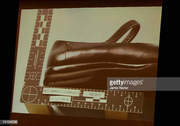 An image of Lana Clarkson's shoe is projected in the courtroom during music producer Phil Spector's murder trial at Los Angeles Superior Court May 8...