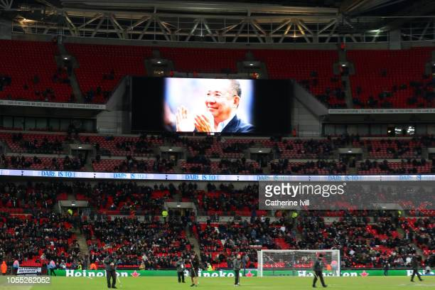 An image of Leicester City Chairman Vichai Srivaddhanaprabha is shown on the scoreboard during the Premier League match between Tottenham Hotspur and...