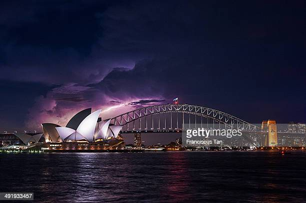 CONTENT] An image of lightning storm hitting the Opera House With the Sydney Harbour Bridge as a foreground