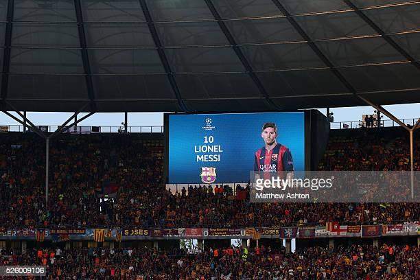 An image of Lionel Messi of FC Barcelona on the stadium scoreboard at the Olympic Stadium in Berlin Olympiastadion