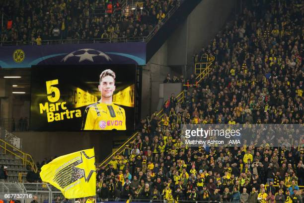 An image of Marc Bartra of Borussia Dortmund is shown on the stadium scoreboard before the UEFA Champions League Quarter Final first leg match...