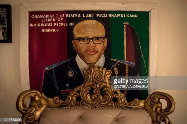 An image of Mazi Nnamdi Kanu leader of Indigenous People of Biafra hangs on a wall in a house in Umuahia one of the proBiafran separatist regions on...