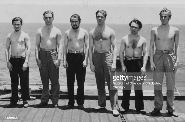 An image of POWs captured from the German submarine U505, June 16, 1944. Pictured are, from left, Werner Karl Reh, Karl Oskar Springer, Alfred Karl...