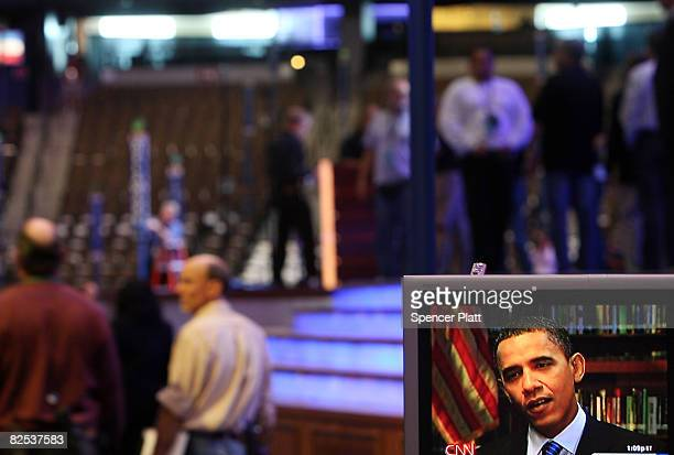 An image of presumptive Democratic presidential nominee Sen Barack Obama appears on a television at the site of the Democratic National Convention at...