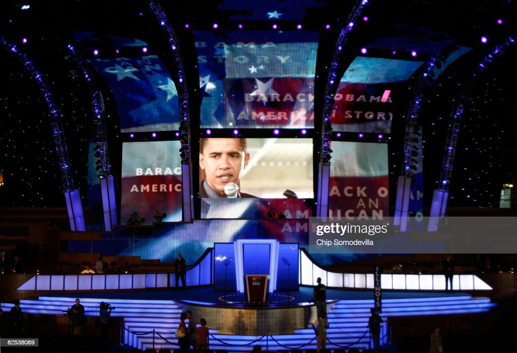 An image of Presumptive Democratic presidential nominee U.S. Sen. Barack Obama (D-IL) appears on a screen above the stage at the site of the Democratic National Convention (DNC) at the Pepsi Center August 24, 2008 in Denver, Colorado. The DNC begins August 25 where Obama will be officially nominated as the Democratic nominee for U.S. president.