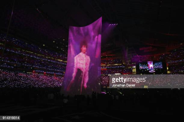 An image of Prince is projected as Justin Timberlake performs during the Pepsi Super Bowl LII Halftime Show at US Bank Stadium on February 4 2018 in...