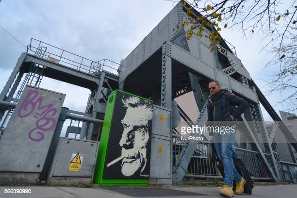 An image of Samuel Beckett near the wroughtiron Scherzer rolling lift bascule bridge erected around 1935 on North Wall Quay in Dublin On Wednesday 25...