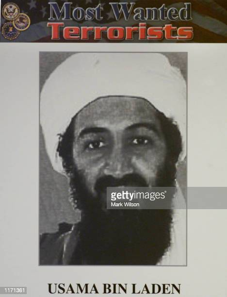 An image of Saudi dissident Osama bin Laden who appears at the top of the newly released list of the FBI's Most Wanted October 10 2001 in Washington...
