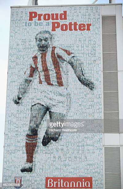 An image of Sir Stanley Matthews is seen on a wall prior to the Barclays Premier League match between Stoke City and Queens Park Rangers at Britannia...
