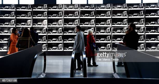 An image of 'Sixty Last Supper' by Andy Warhol is displayed during the press preview at Museo del 900 on March 24 2017 in Milan Italy