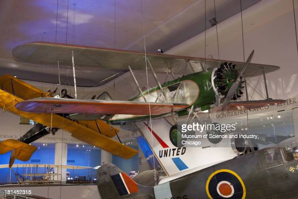 An image of the 1928 Boeing 40B airmail plane on display as part of the transportation exhibit at the Museum of Science and Industry Chicago Illinois...