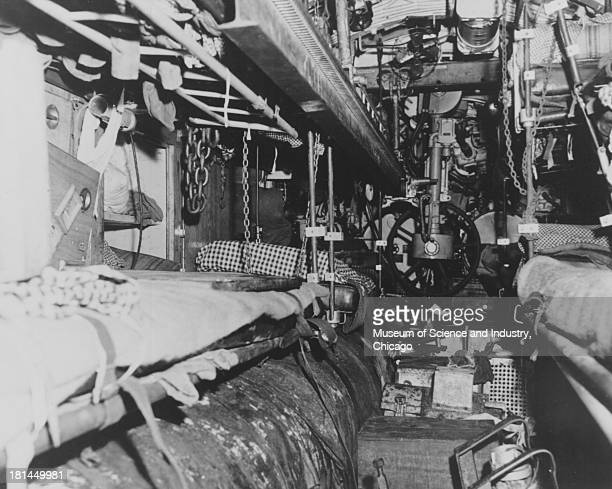 An image of the after torpedo room of the captured German U505 submarine taken by a photographer from the USS Guadalcanal in the North Atlantic June...