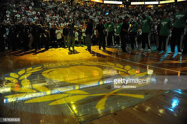 An Image of the Boston Strong logo prior to the game against the New York Knicks during Game Three of the Eastern Conference Quarterfinals on April...