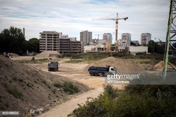 An image of the building site of the Olympic village in Saint-Denis, a commune in the northern suburbs of Paris on August 2, 2017. Los Angeles...