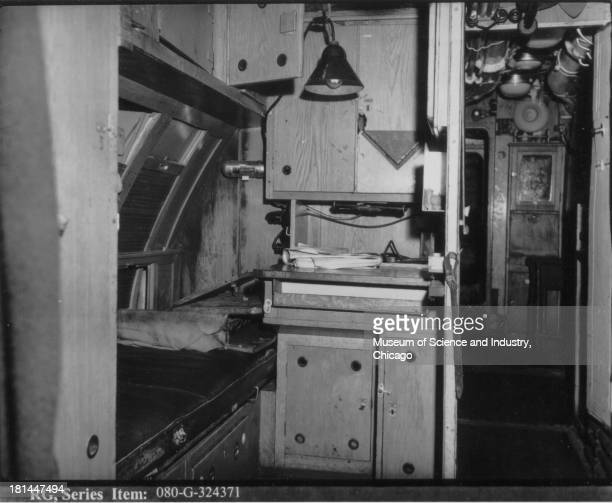 An image of the captain's quarters of the captured German U505 submarine taken by a photographer from the USS Guadalcanal in the North Atlantic June...