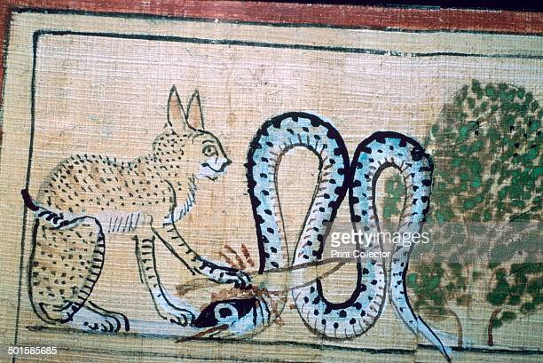 An image of the cat of Ra killing Apophis the snake of evil from the papyrus of Hunefer from the British Museum's collection