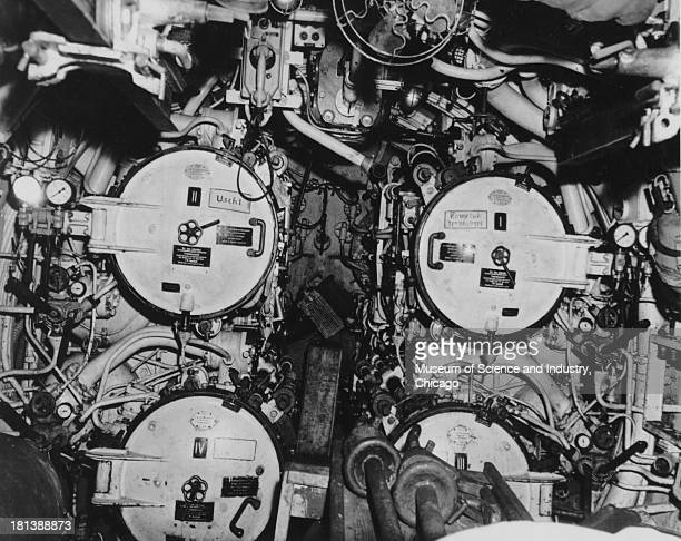 An image of the forward torpedo tubes of the captured German U505 submarine taken by a photographer from the USS Guadalcanal in the North Atlantic...