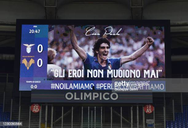 An image of the Italian Footballer Paolo Rossi World Champion in the World Cup in Spain 1982 is displayed on a giant screen, to pay tribute to him...