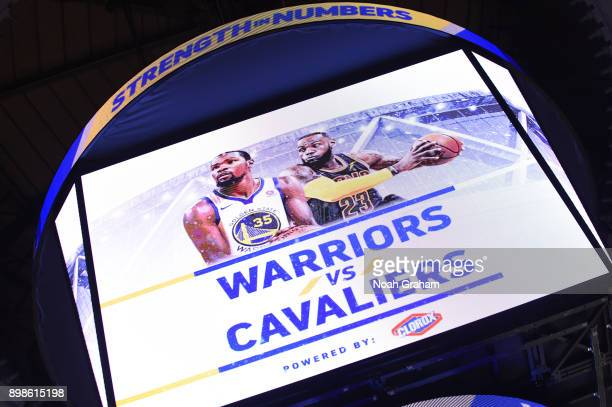 An image of the jumbotron before the game between the Cleveland Cavaliers and the Golden State Warriors on December 25 2017 at ORACLE Arena in...