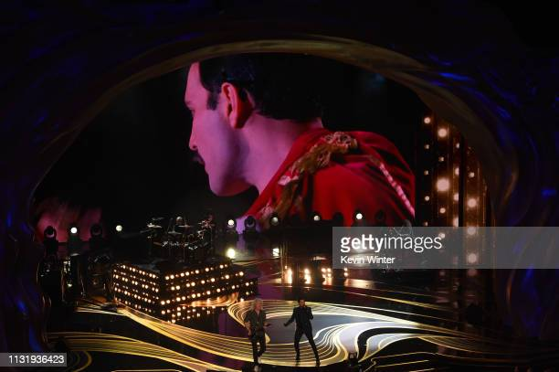 An image of the late Freddie Mercury is projected onto a screen while Adam Lambert Queen perform onstage during the 91st Annual Academy Awards at...