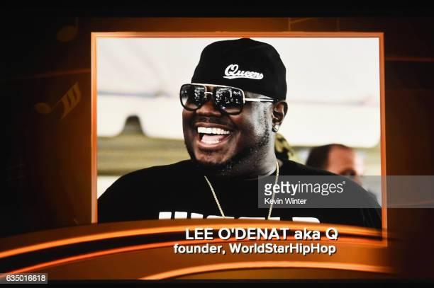 An image of the late Lee O'Denat aka Q is projected on a video screen during The 59th GRAMMY Awards at STAPLES Center on February 12 2017 in Los...