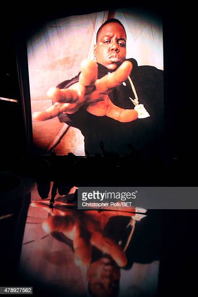 An image of the late The Notorious BIG appears on a video screen during the 2015 BET Awards at the Microsoft Theater on June 28 2015 in Los Angeles...