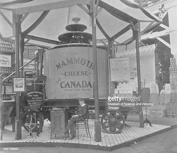 An image of the Mammoth Cheese in Canada's exhibit in the Agricultural Department at the World's Columbian Exposition in Chicago Illinois 1893 This...