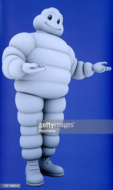 An image of the Michelin Cie Michelin Man character is seen at the company's news conference in Paris France on Friday July 30 2010 Michelin Cie the...