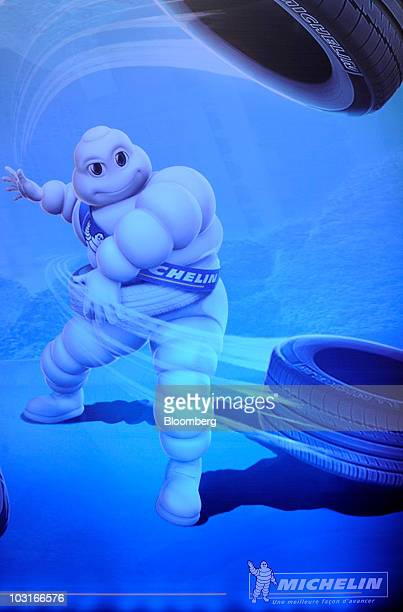 An image of the Michelin Cie 'Michelin Man' character is seen at the company's news conference in Paris France on Friday July 30 2010 Michelin Cie...