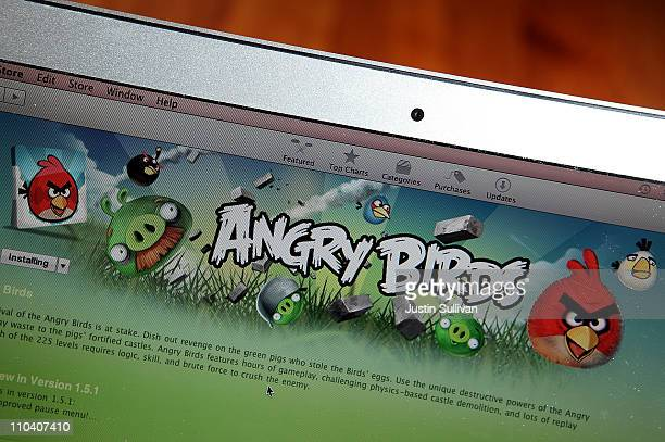 An image of the popular video game Angry Birds is displayed on a laptop on March 18 2011 in San Anselmo California The Angry Birds mobile device...