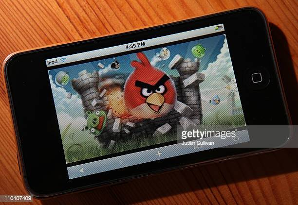 An image of the popular video game Angry Birds is displayed on an iPod Touch on March 18 2011 in San Anselmo California The Angry Birds mobile device...