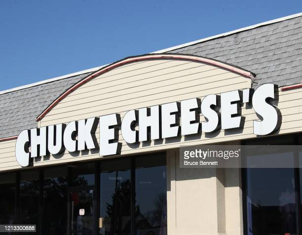 An image of the sign for a Chuck E Cheese store as photographed on March 18 2020 in Hicksville New York