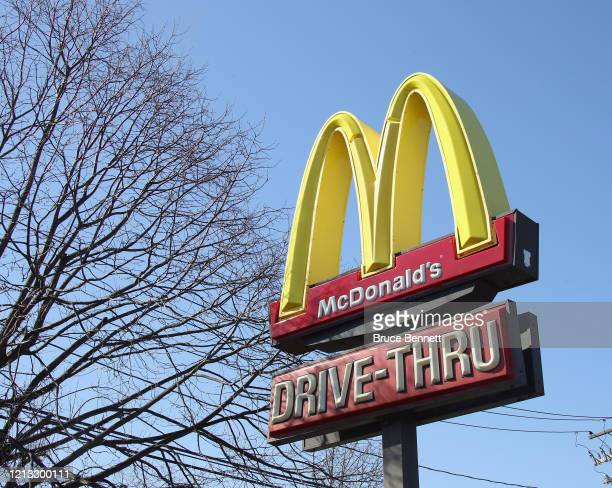 An image of the sign for a McDonald's as photographed on March 18, 2020 in Plainview, New York.