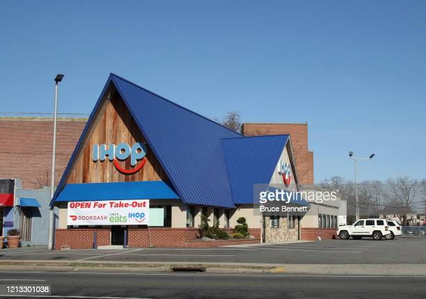 An image of the sign for an iHop restaurant as photographed on March 18 2020 in Hicksville New York