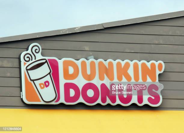 An image of the sign for Dunkin' Donuts as photographed on March 16 2020 in Levittown New York